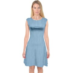 Blue Artex Capsleeve Midi Dress