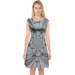 Severn Bridge Spiral Capsleeve Midi Dress