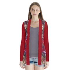 blossom butterfly watercolour and red Drape Collar Cardigan
