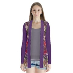 blossom butterfly watercolour and purple Drape Collar Cardigan