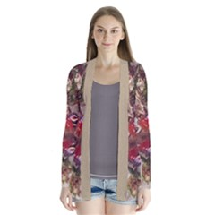 blossom butterfly watercolour and beige Drape Collar Cardigan