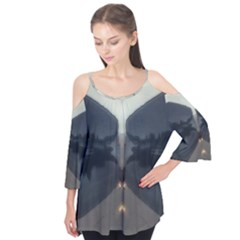 Abstract Reflections Grey Flutter Sleeve Tee