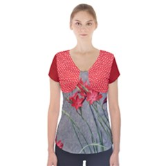 Red Flowers Short Sleeve Front Detail Top