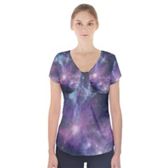 Blue Galaxy Short Sleeve Front Detail Top