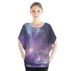 Blue Galaxy Batwing Chiffon Blouse