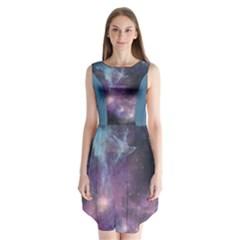 Blue Galaxy Sleeveless Chiffon Dress