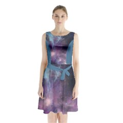 Blue Galaxy Sleeveless Chiffon Waist Tie Dress