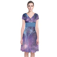 Blue Galaxy Short Sleeve Front Wrap Dress