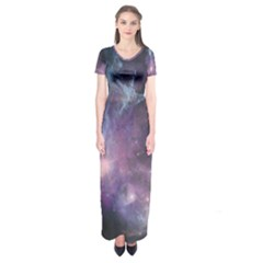 Blue Galaxy Short Sleeve Maxi Dress