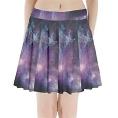 Blue Galaxy Pleated Mini Skirt