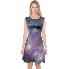 Blue Galaxy Capsleeve Midi Dress