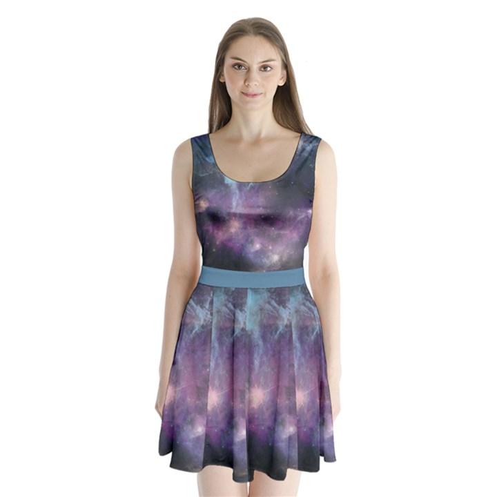 Blue Galaxy Split Back Mini Dress