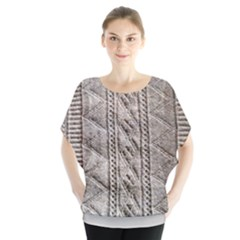 Rough Cable Knit Batwing Chiffon Blouse
