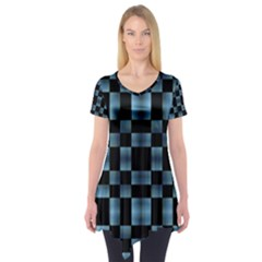Black and Blue Checkboard Print Short Sleeve Tunic
