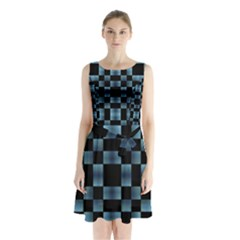 Black and Blue Checkboard Print Sleeveless Chiffon Waist Tie Dress