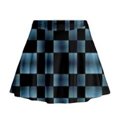 Black And Blue Checkboard Print Mini Flare Skirt