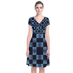 Black And Blue Checkboard Print Short Sleeve Front Wrap Dress