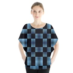 Black And Blue Checkboard Print Blouse