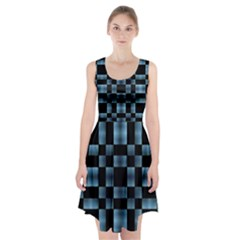Black and Blue Checkboard Print Racerback Midi Dress