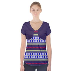 Colorful Retro Geometric Pattern Short Sleeve Front Detail Top
