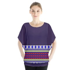 Purple Retro Geometric Pattern Batwing Chiffon Blouse