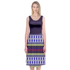 Colorful Retro Geometric Pattern Midi Sleeveless Dress