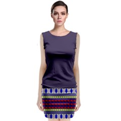 Purple Retro Geometric Pattern Classic Sleeveless Midi Dress