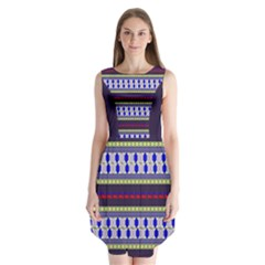 Colorful Retro Geometric Pattern Sleeveless Chiffon Dress