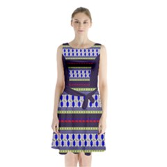 Colorful Retro Geometric Pattern Sleeveless Chiffon Waist Tie Dress