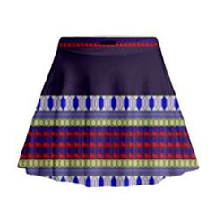 Purple Retro Geometric Pattern Mini Flare Skirt