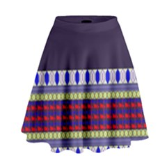Purple Retro Geometric Pattern High Waist Skirt