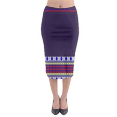 Colorful Retro Geometric Pattern Midi Pencil Skirt