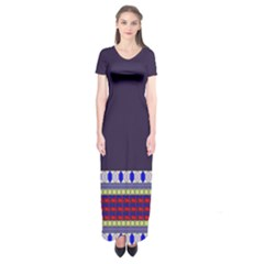 Purple Retro Geometric Pattern Short Sleeve Maxi Dress