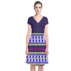 Colorful Retro Geometric Pattern Short Sleeve Front Wrap Dress