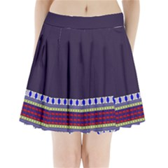 Purple Retro Geometric Pattern Pleated Mini Skirt