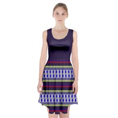 Colorful Retro Geometric Pattern Racerback Midi Dress