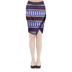 Colorful Retro Geometric Pattern Midi Wrap Pencil Skirt