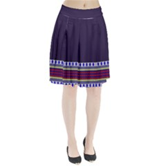 Purple Retro Geometric Pattern Pleated Skirt