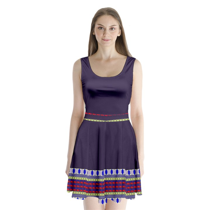 Purple Retro Geometric Pattern Split Back Mini Dress
