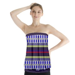 Colorful Retro Geometric Pattern Strapless Top