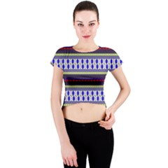 Colorful Retro Geometric Pattern Crew Neck Crop Top