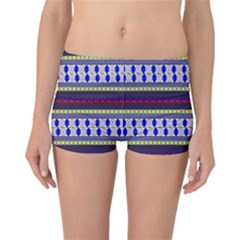 Colorful Retro Geometric Pattern Reversible Boyleg Bikini Bottoms