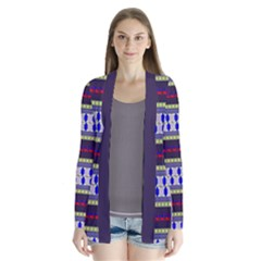 Colorful Retro Geometric Pattern Drape Collar Cardigan