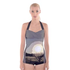 sunrise over the plains Boyleg Halter Swimsuit