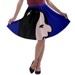 Girl and bird A-line Skater Skirt