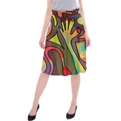 Colorful dream Midi Beach Skirt