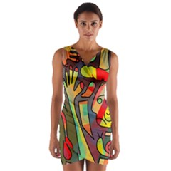 Colorful dream Wrap Front Bodycon Dress