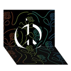 Floral pattern Peace Sign 3D Greeting Card (7x5)