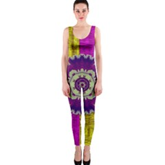 Decorative Leaf On Paper Onepiece Catsuit