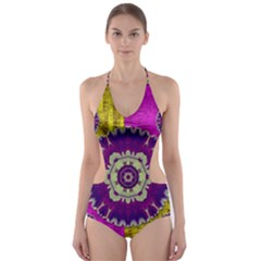 Decorative Leaf On Paper Cut Out One Piece Swimsuit